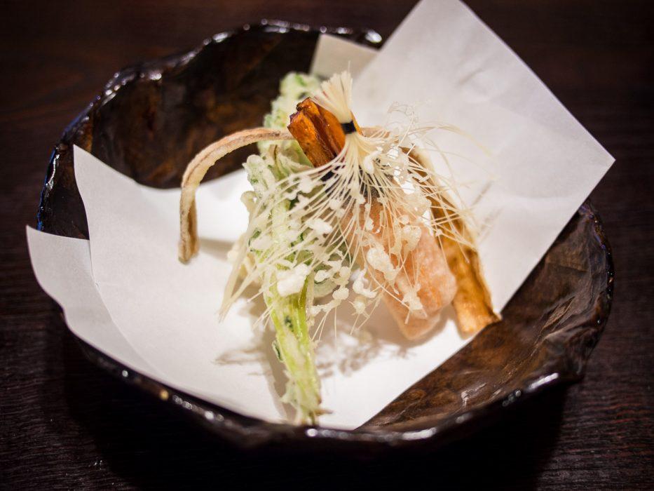 Tempura de légumes au restaurant végétarien Bon, Tokyo