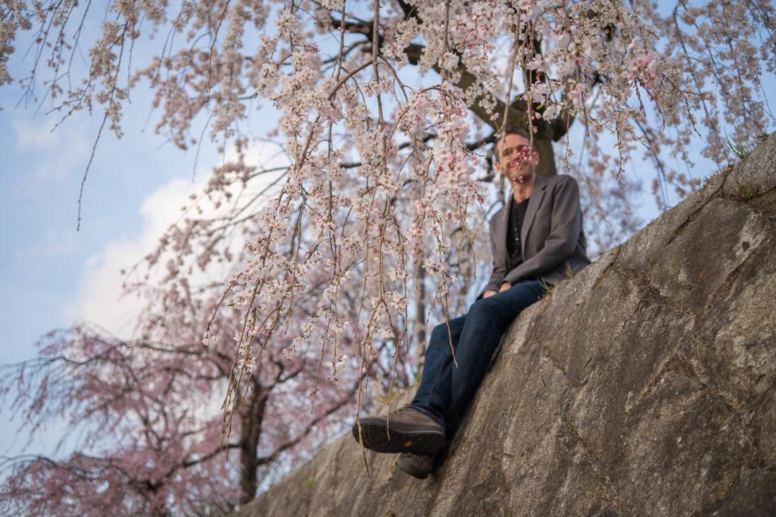 Simon parmi les fleurs de cerisier de Kyoto le long de la rivière Kamo