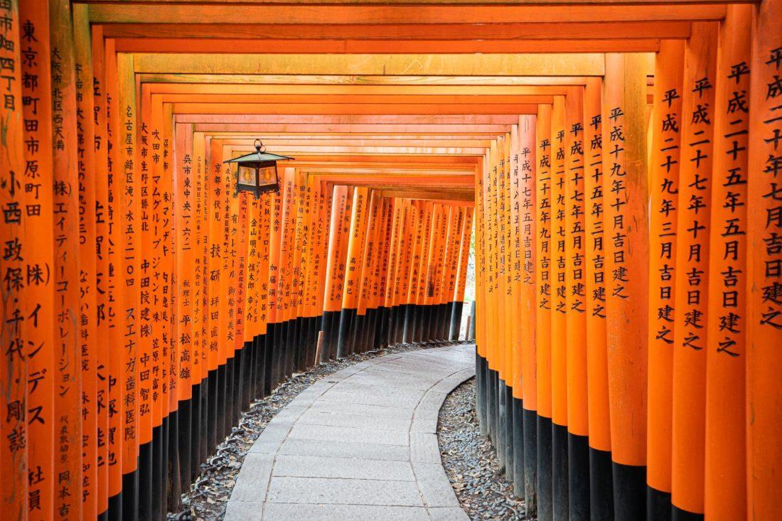 Le tunnel de la porte torii à Fushimi Inari, le meilleur sanctuaire de Kyoto