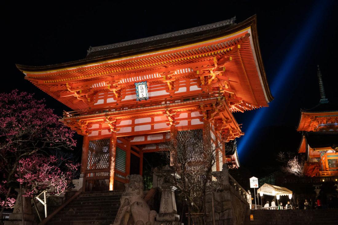 Kiyomizu-dera pendant les illuminations nocturnes spéciales, un lieu touristique de premier ordre à Kyoto