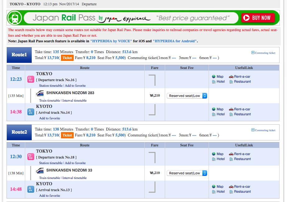 Utiliser Hyperdia pour calculer si un Japan Rail Pass vous fait économiser de l'argent