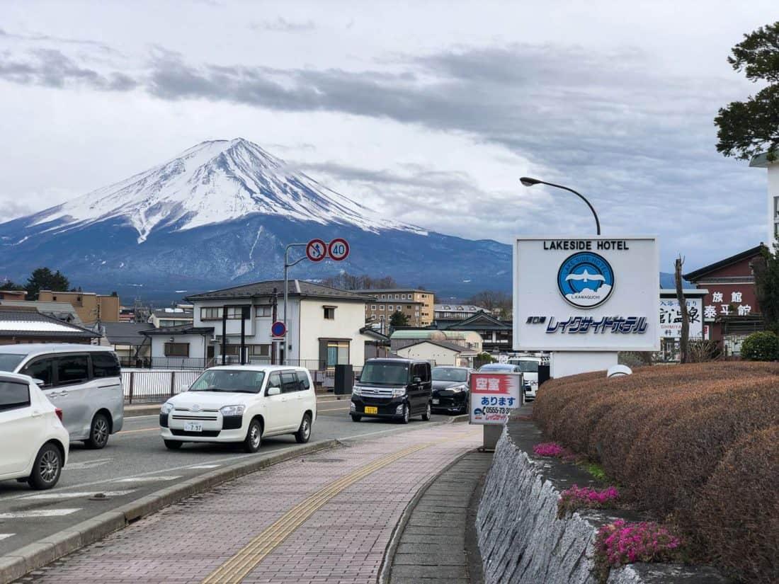 Vue sur le mont Fuji depuis l'hôtel Kawaguchiko Lakeside