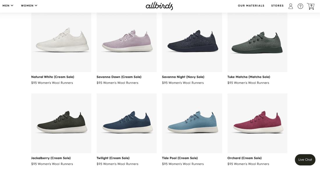Site Web des coureurs de laine Allbirds montrant une gamme de couleurs disponibles