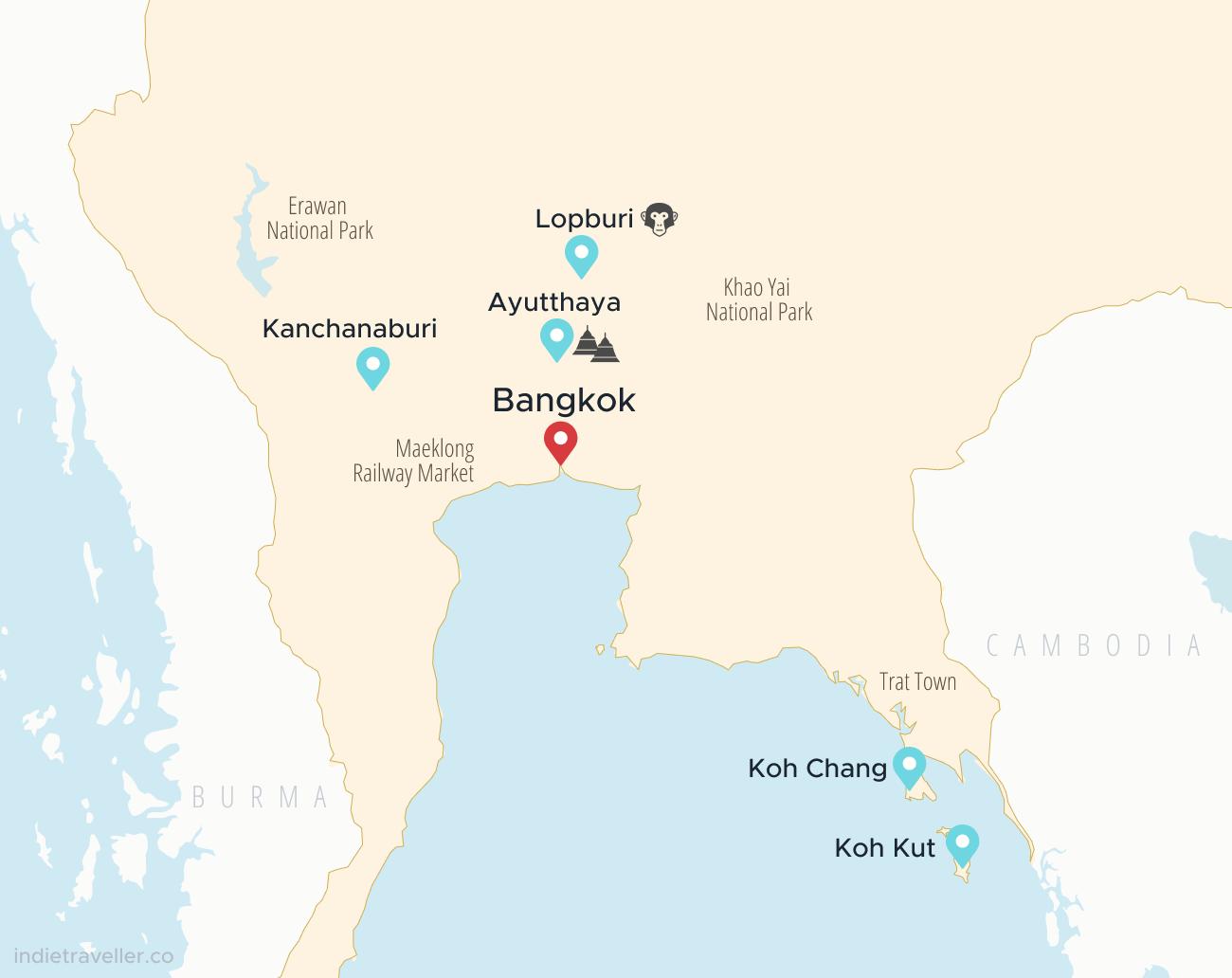 Carte montrant les meilleurs endroits pour voyager dans le centre de la Thaïlande