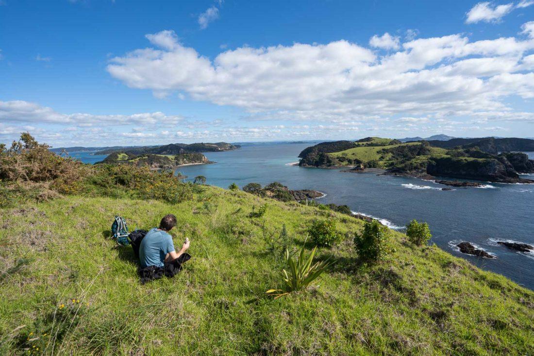 Déjeuner sur le sentier Cliff Pa Loop sur l'île d'Urupukapuka avec vue sur l'île de Waewaetorea