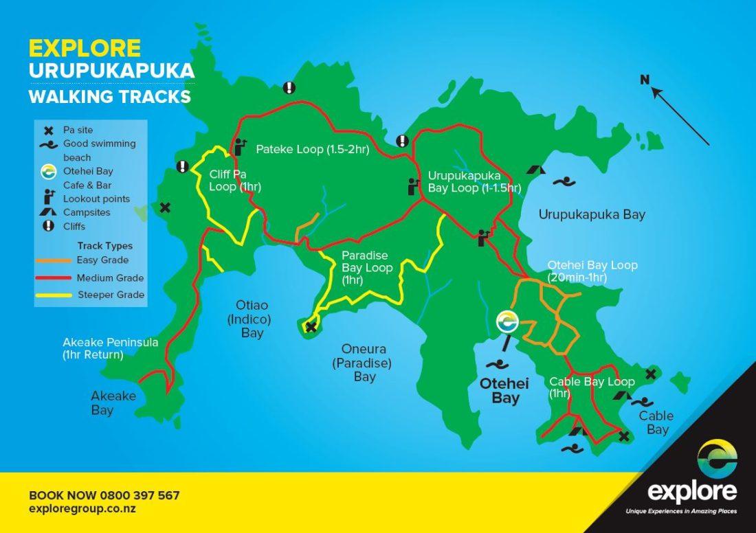 Carte des promenades sur l'île d'Urupukapuka depuis Explore